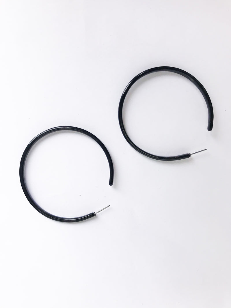 Black Tort Hoop Earrings