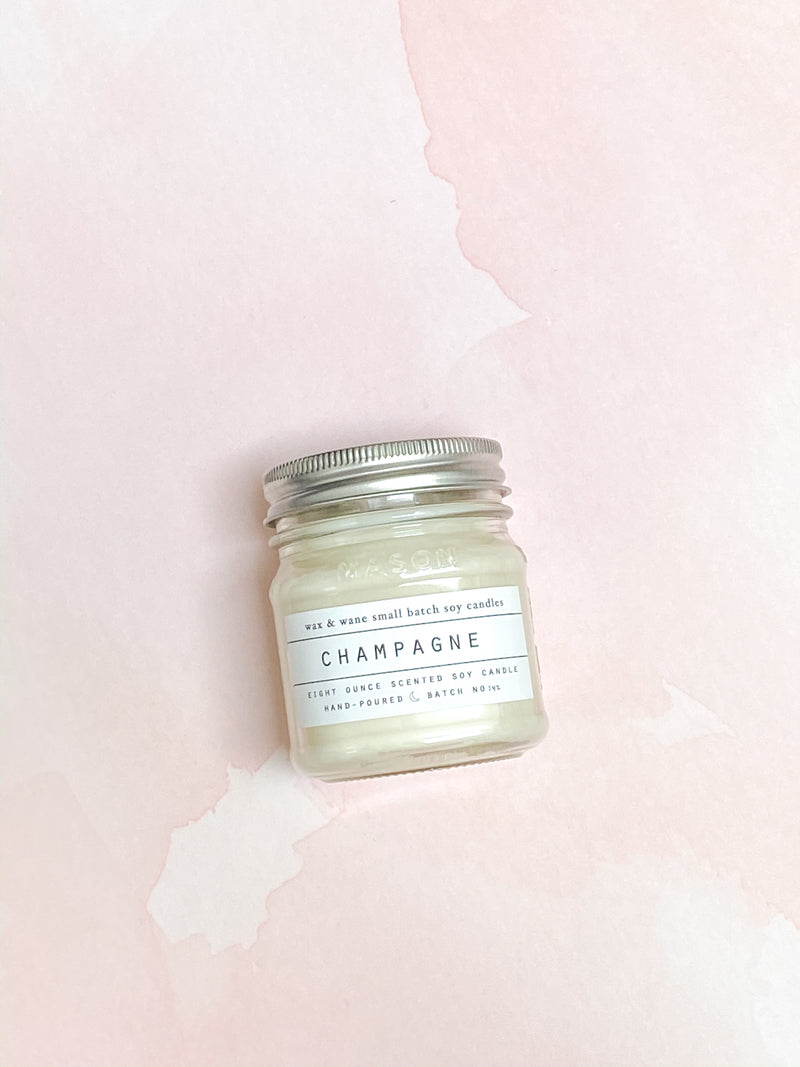 Champagne Mason Jar Candle - Stitch And Feather