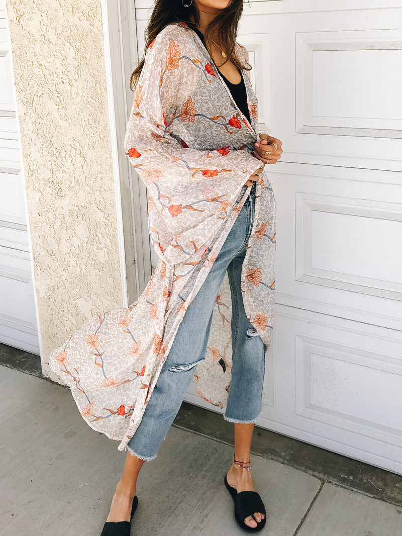 Poppy Poolside Maxi Kimono - Stitch And Feather