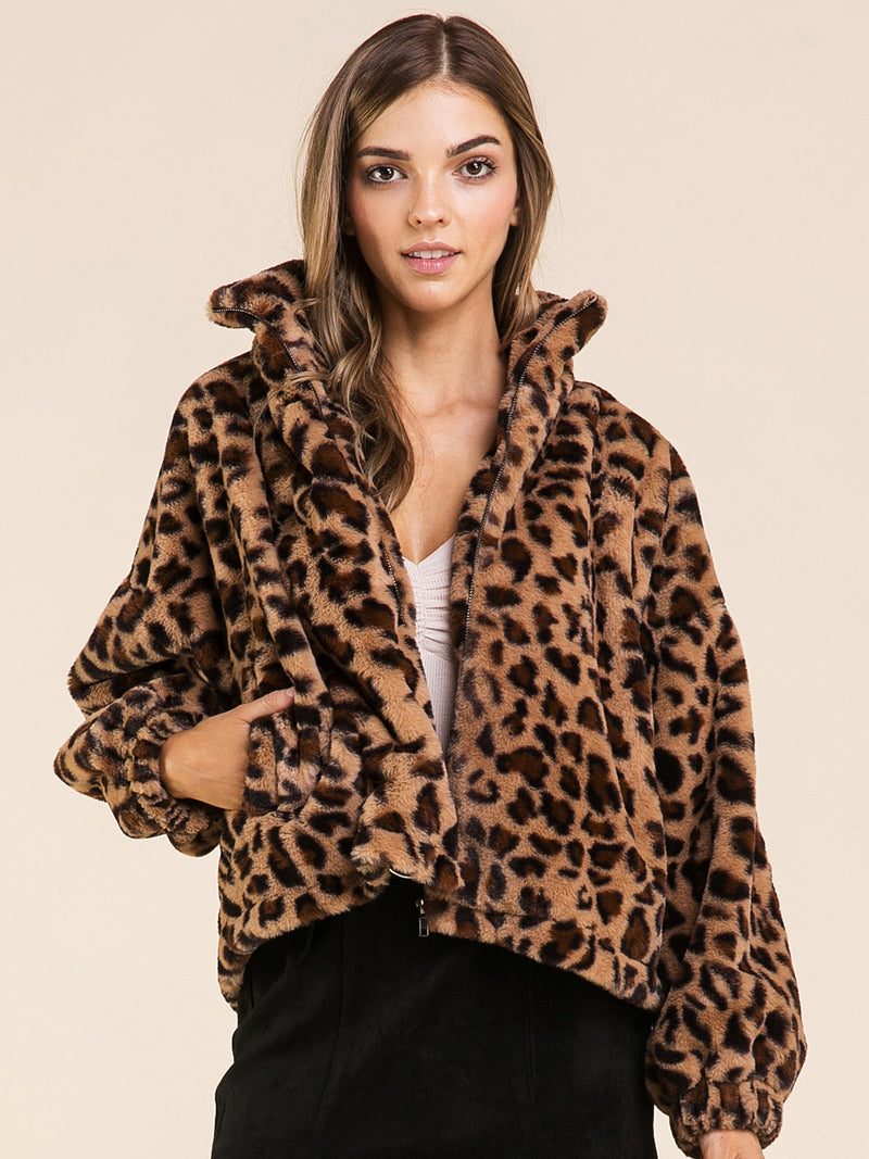 Are You Furreal Leopard Bomber Jacket