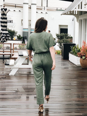 Olive You Linen Jumpsuit - Stitch And Feather