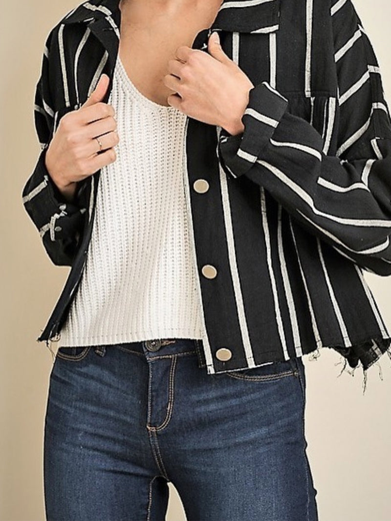Oversized Striped Jacket Black - Stitch And Feather