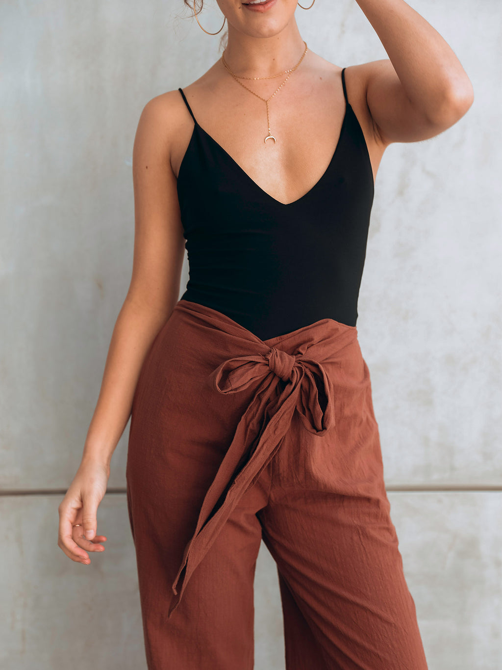 Tie Front Wide Leg Pant - Stitch And Feather