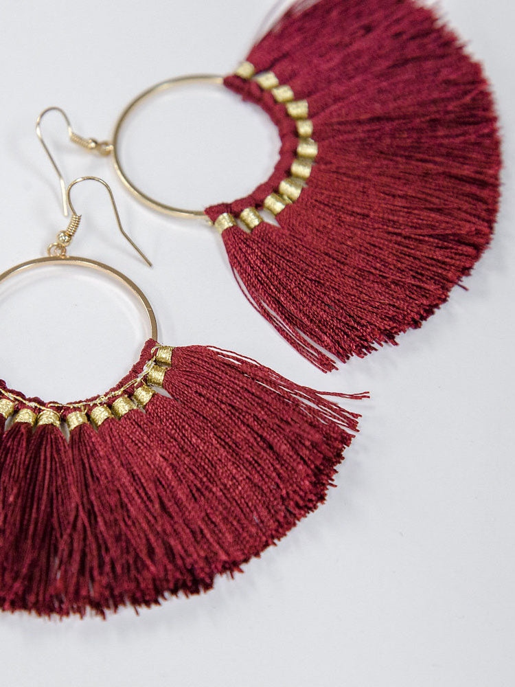 Fringe Earrings in Maroon - Stitch And Feather