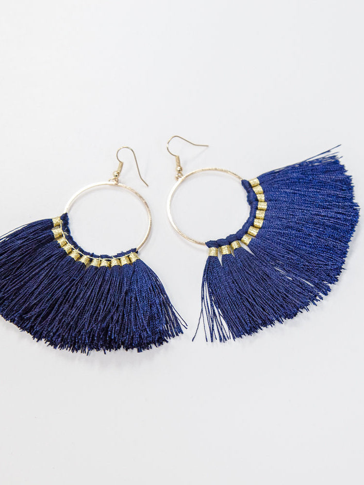 Fringe Earrings in Navy - Stitch And Feather