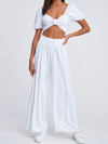 Meena Linen Pants in White - Stitch And Feather