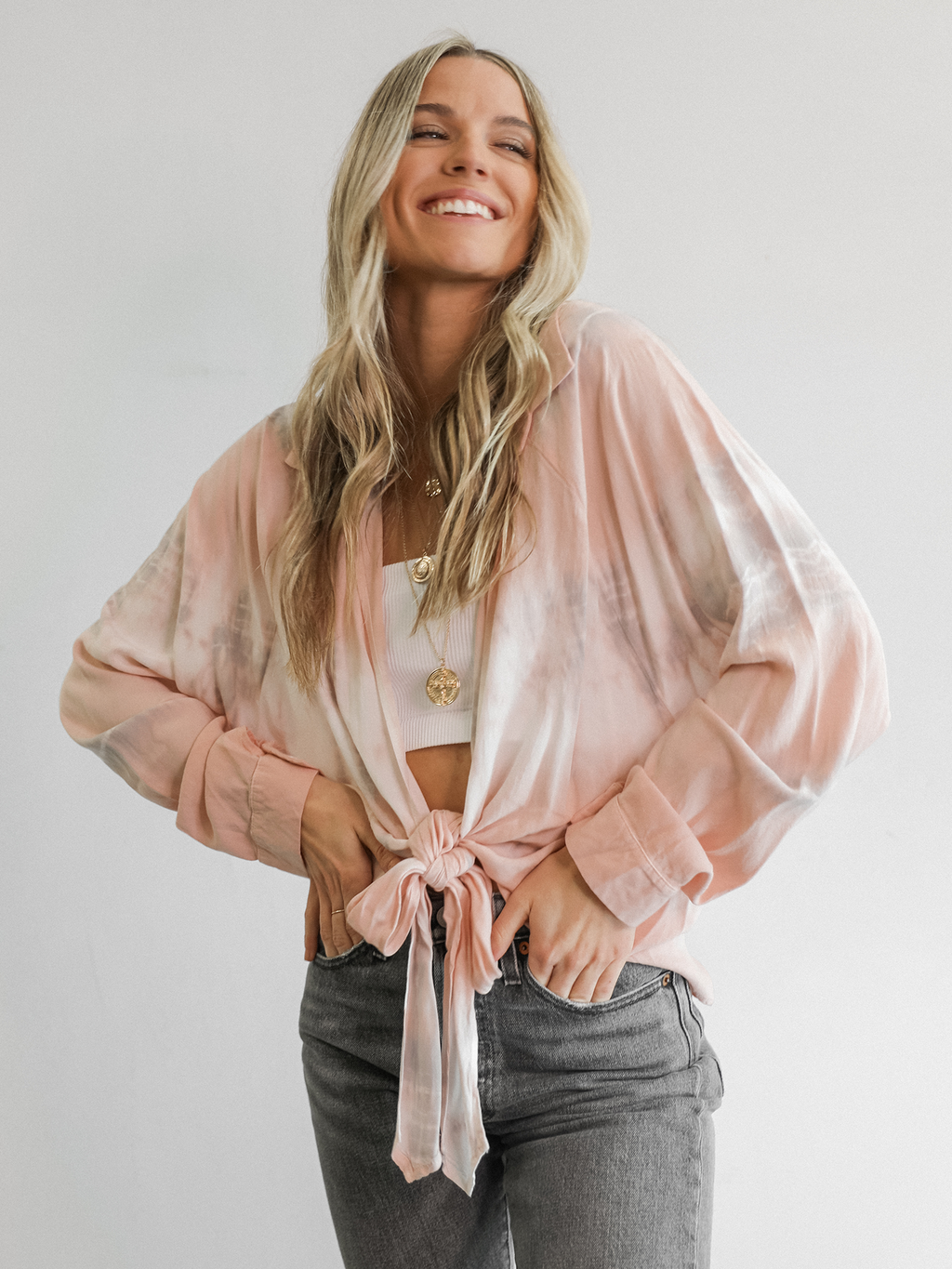 Jewel Front Tie Top - Stitch And Feather