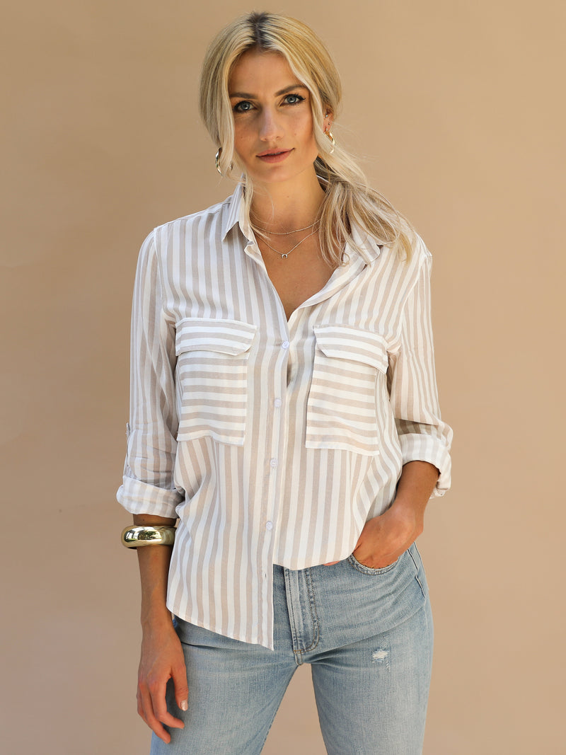 Shadow Stripe Top - Stitch And Feather