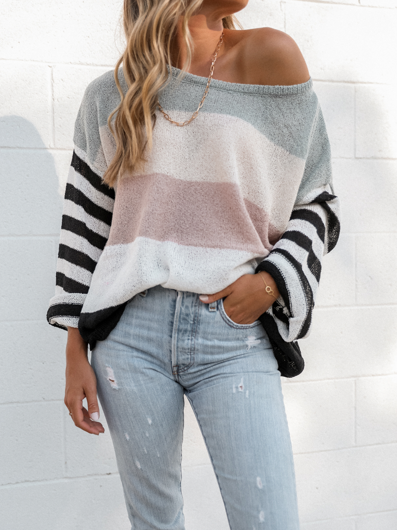 Cotton Candy Stripe Sweater - Stitch And Feather