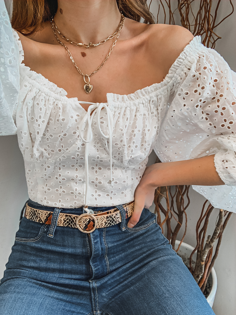 Bardot Eyelet Top in White - Stitch And Feather