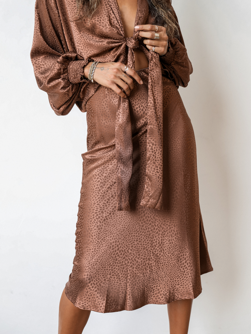 Wanderer Midi Skirt in Brown - Stitch And Feather