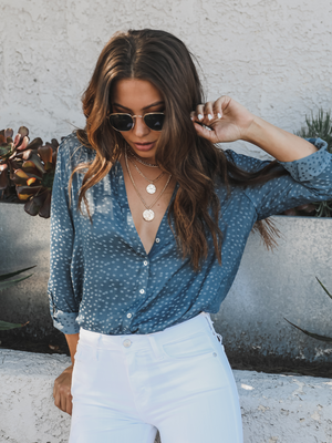 Starry Night Button Up in Blue - Stitch And Feather