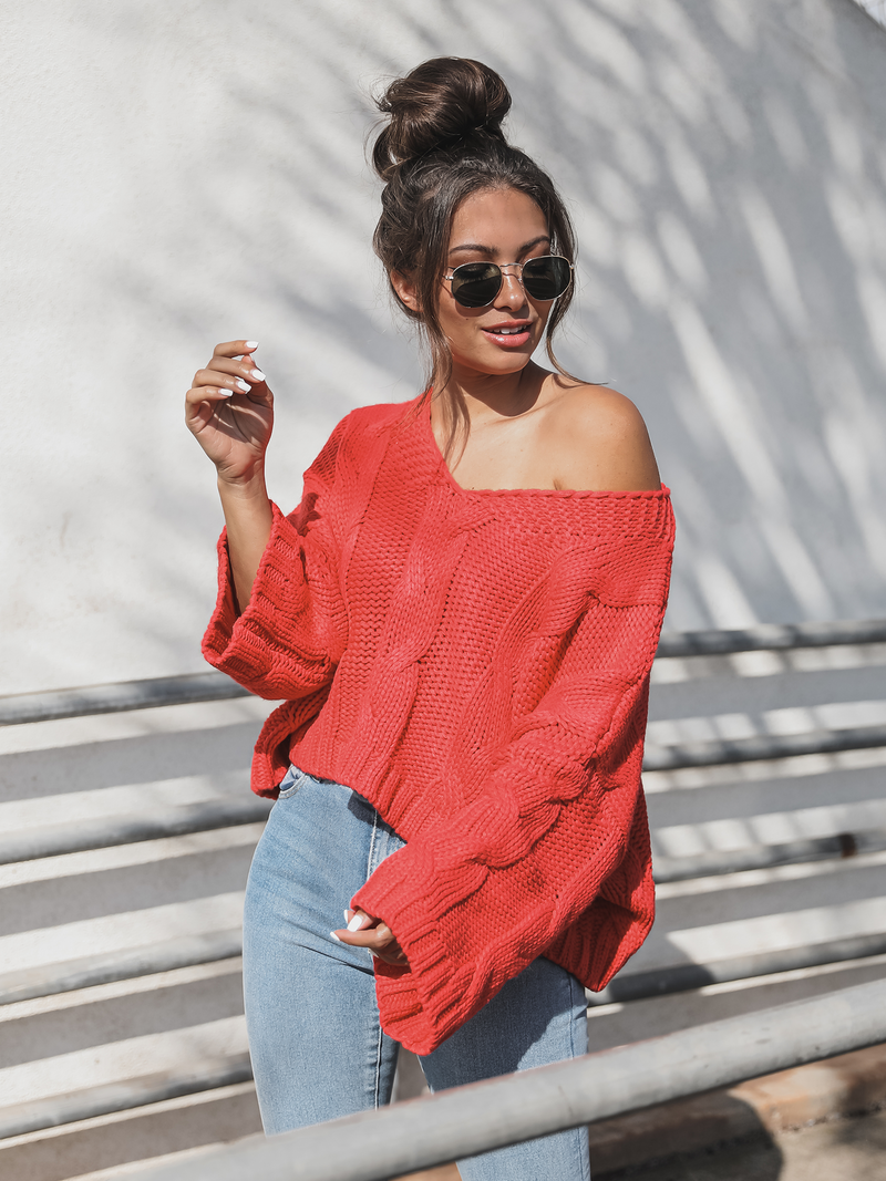 Strawberry Cable Knit Pullover