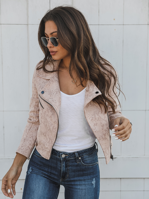 Emma Suede Moto Jacket in Blush - Stitch And Feather