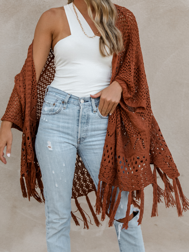 Terracotta Fringe Cardigan - Stitch And Feather