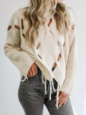 Mayra Cut Out Sweater in Cream - Stitch And Feather