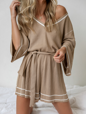 Lounge With Me Romper in Beige - Stitch And Feather