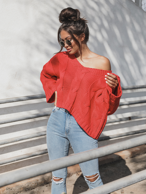 Strawberry Cable Knit Pullover - Stitch And Feather
