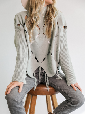 Mayra Cut Out Sweater in Sage - Stitch And Feather