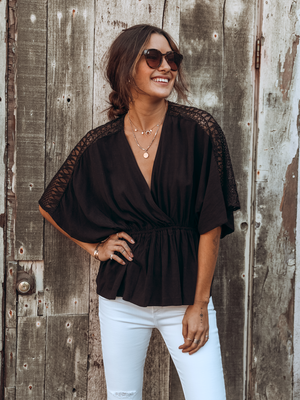 Good Times Blouse in Black - Stitch And Feather