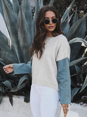 Diana Denim Sleeve Pullover - Stitch And Feather