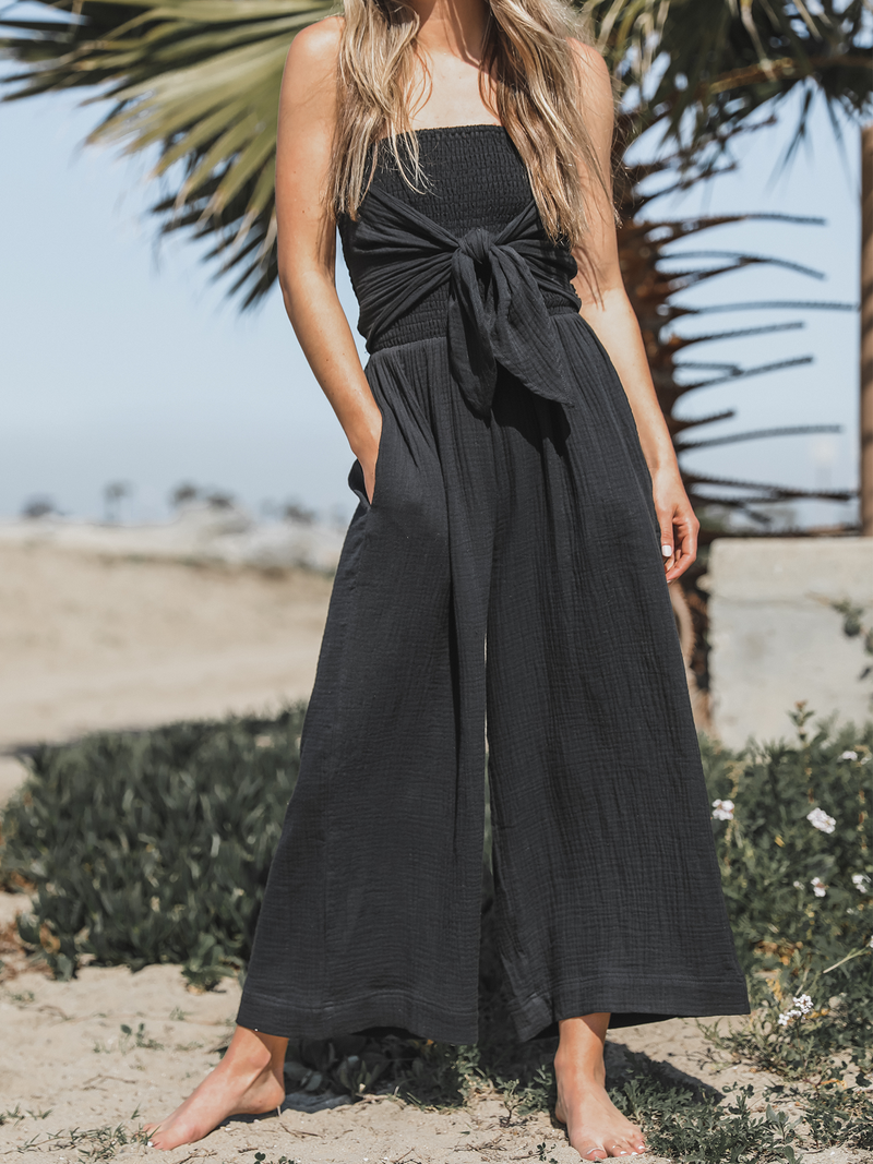 Sarah Front Tie Jumpsuit in Black - Stitch And Feather