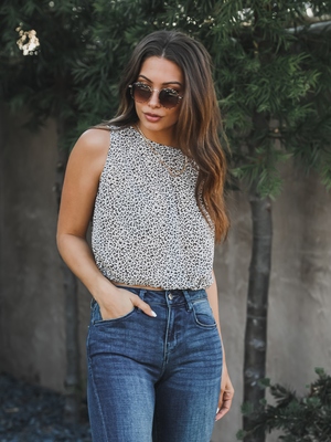 Lani Leopard Top in White - Stitch And Feather