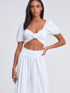 Meena Linen Crop Top in White - Stitch And Feather