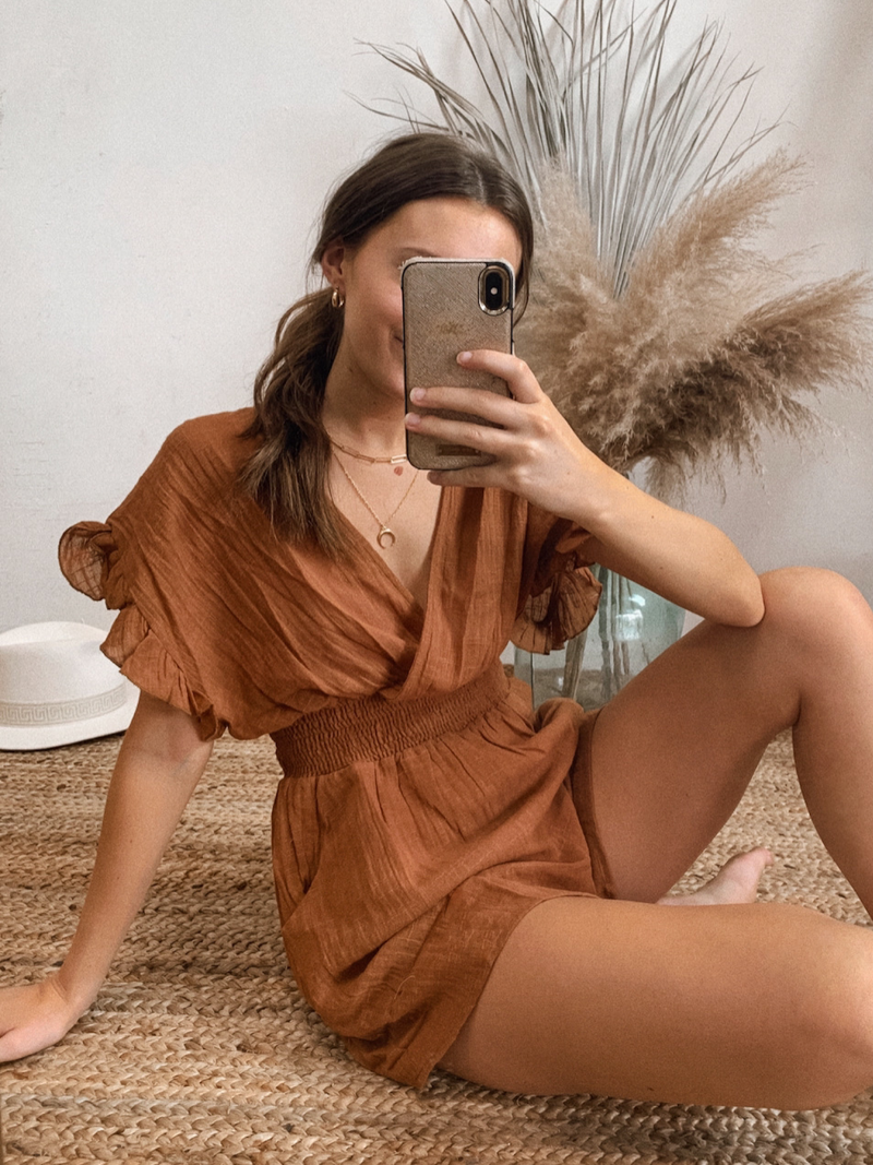 Ginger Gauze Romper - Stitch And Feather