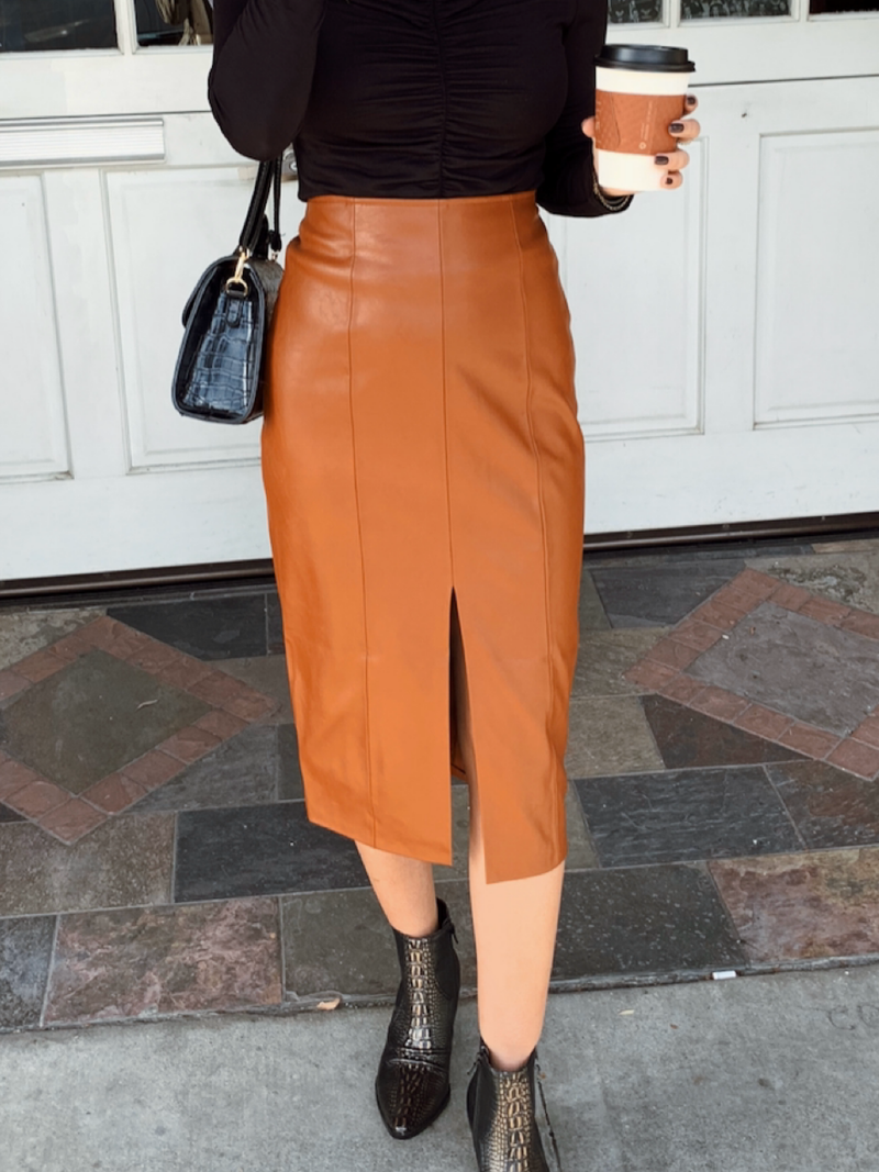 Mikayla Leather Skirt - Stitch And Feather
