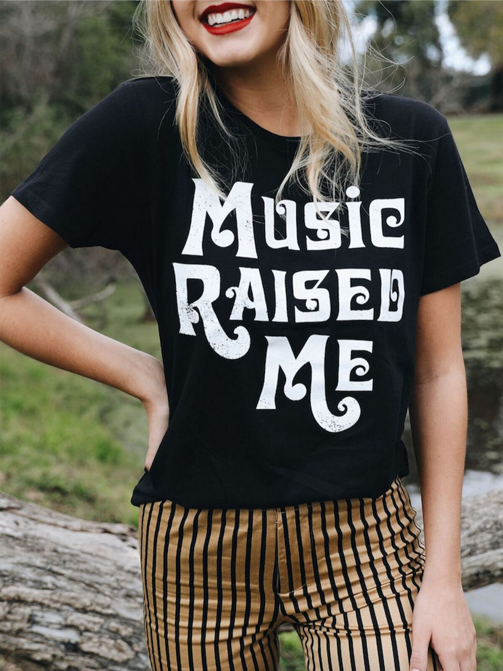 Music Raised Me Tee in Black - Stitch And Feather