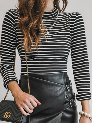 Brianna Stripe Mock Neck - Stitch And Feather