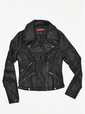 Vegan Leather Moto Jacket - Stitch And Feather