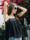 Eyelet Trim Cami in Black - Stitch And Feather