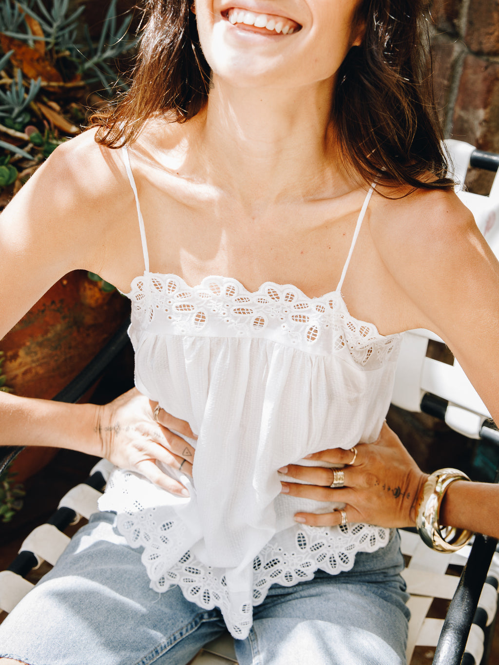 Eyelet Trim Cami in Ivory - Stitch And Feather