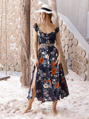 Zinnia Bloom Midi Dress - Stitch And Feather