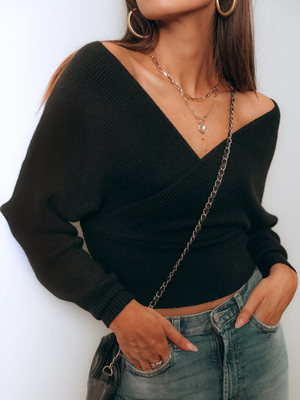 Angelica V-Neck Sweater in Black - Stitch And Feather