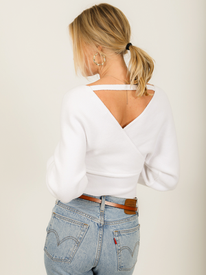 Angelica V-Neck Sweater in White - Stitch And Feather