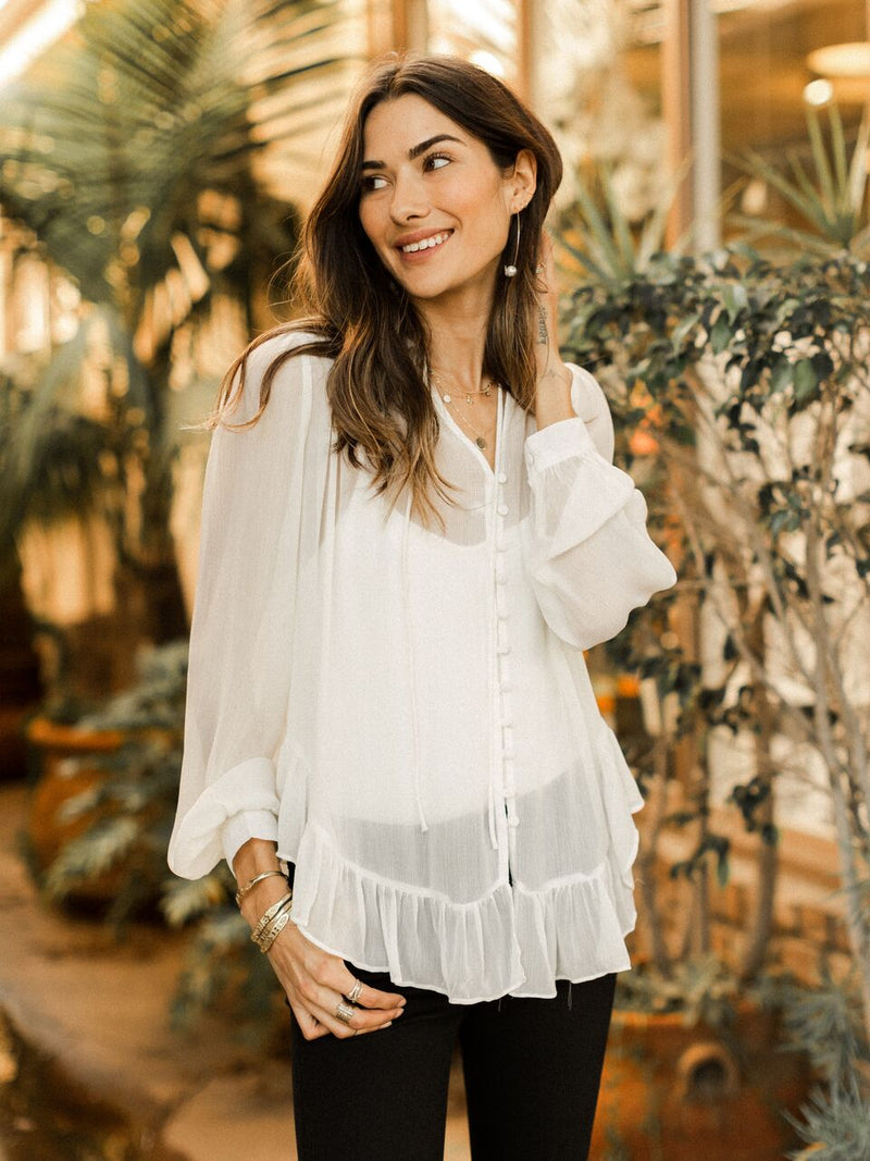Annabelle Sheer Button Up Top Cream