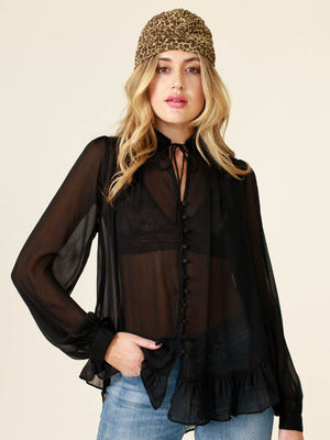 Annabelle Sheer Button Up Top Black