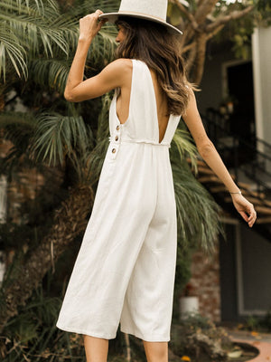 Aromatic Linen Jumpsuit - Stitch And Feather