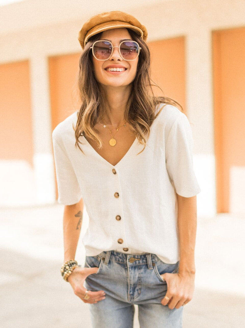 Breezing Linen Button Down Top