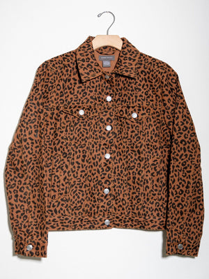 Leopard Trucker Jacket Brown