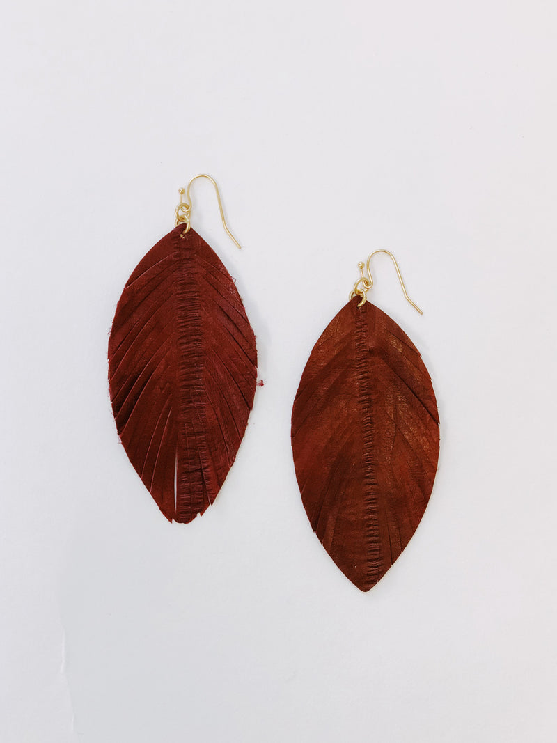 Burgundy Feather Drop Earrings - Stitch And Feather