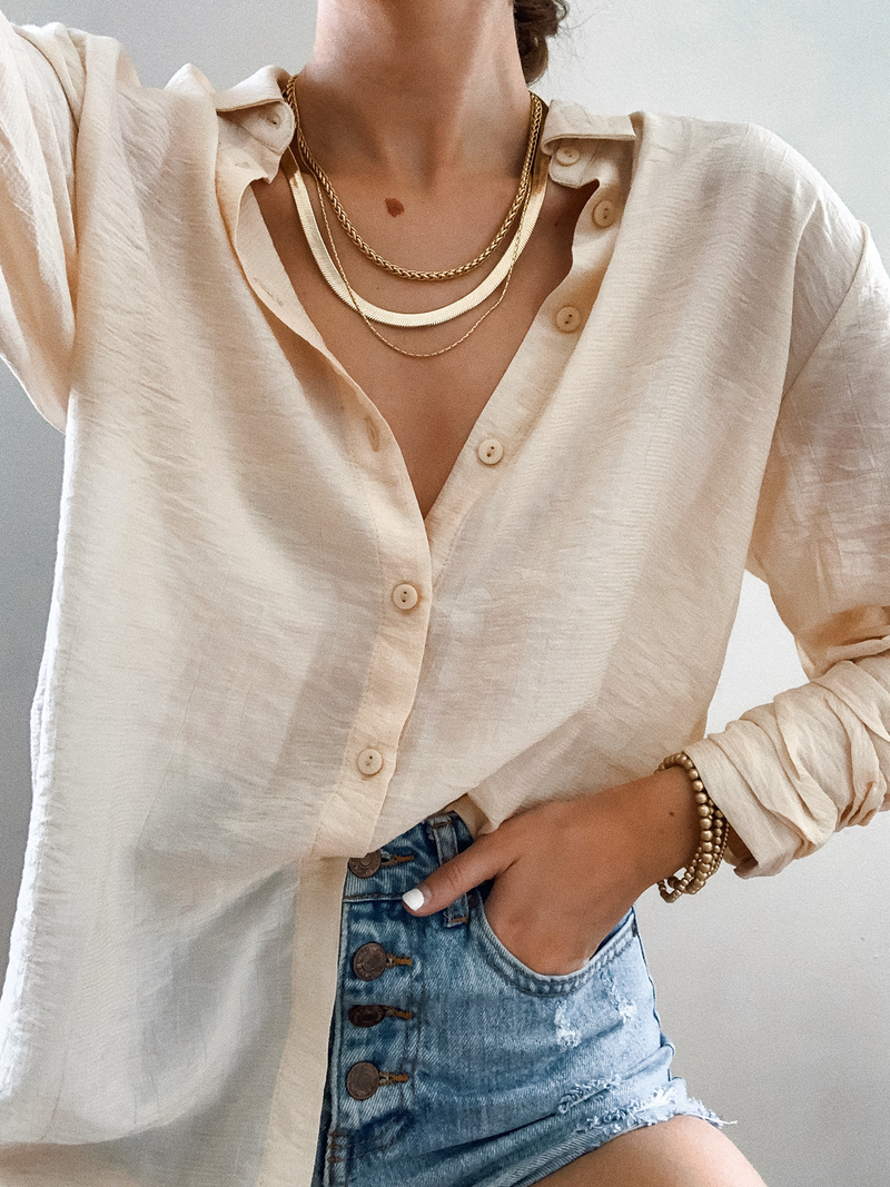 Island Breeze Button Down in Butter - Stitch And Feather