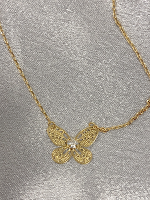 Gold Butterfly Necklace - Stitch And Feather