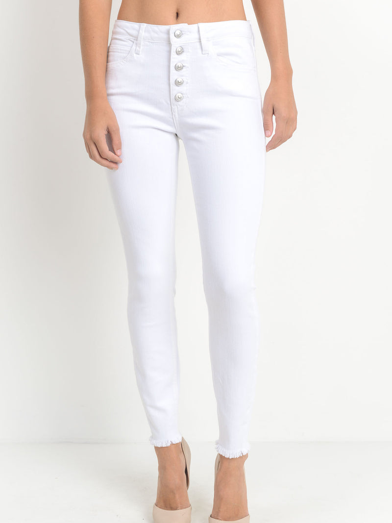 Button Down SkinnyJeans - Stitch And Feather