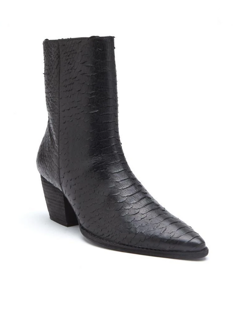 Caty Boot in Black Snake - Stitch And Feather