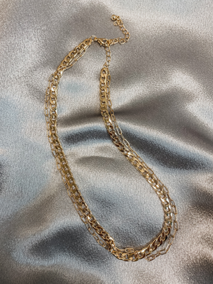 Double Trouble Gold Necklace - Stitch And Feather