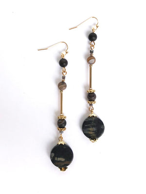 Dangle Stone Earring - Stitch And Feather